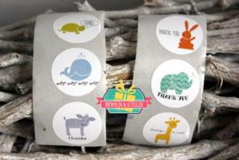Schattige dieren Thank you stickers | 2,5 cm | per 102 stuks