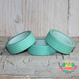 Masking tape | mint kleurig tape met ruitje | 10 mtr x 1,5 cm