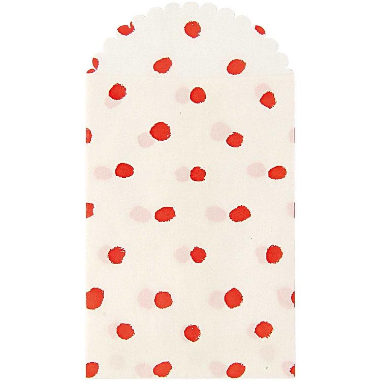 Paper Poetry zakjes | Wit met rode stippen | 10 x 7 cm | set van 6 zakjes