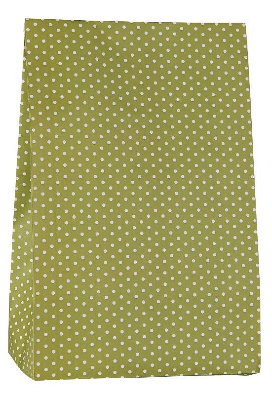 Ib Laursen blokbodemzak | Green Dots | 28,5 cm | per stuk