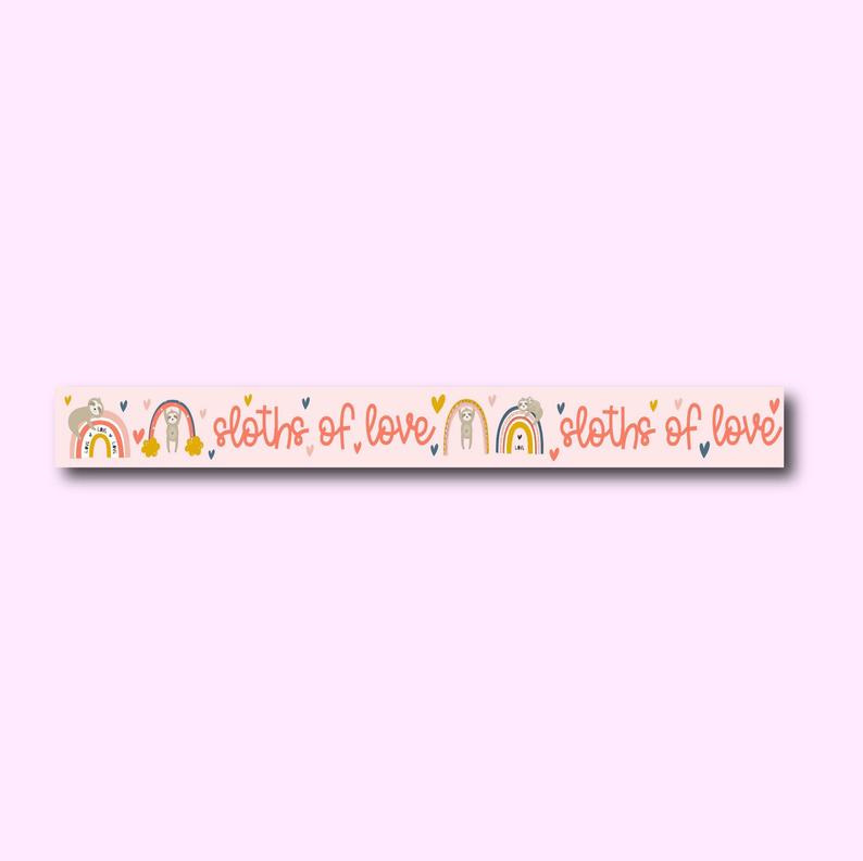 Only Happy Things washi tape | Sloths of love | 10 mtr x 1,5 cm