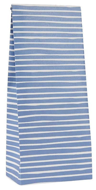 Ib Laursen blokbodemzak | Handdrawn Stripes Blue |  22,5 cm | per stuk
