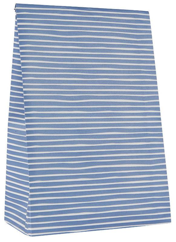 Ib Laursen blokbodemzak | Handdraw Stripes Blue | 28,5 cm | per stuk