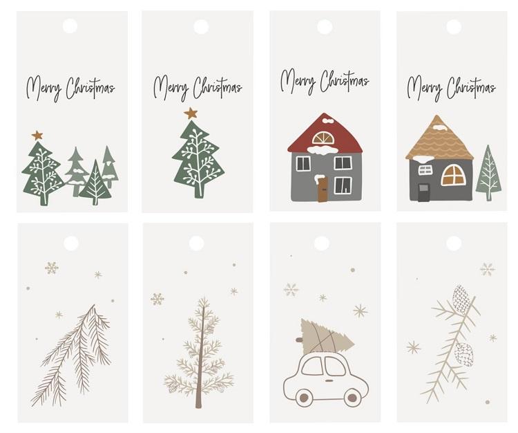 Ib Laursen labeltjes   Kerst   Christmas   set van 8 verschillende   6 x 3 cm