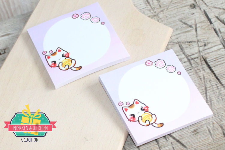 Kawaii | Sticky notes | Lucky Cat | Liggend | 7,5 x 7,5 cm | 50 velletjes