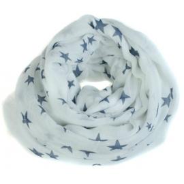 Shawl Sterretjes Wit Blauw