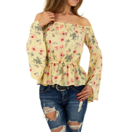 Off shoulder blouse geel