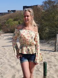 Off shoulder blouse geel