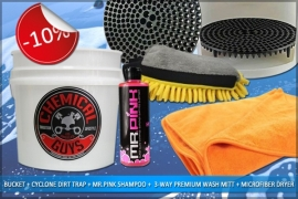 BUCKET + CYCLONE DIRT TRAP + MR. PINK SHAMPOO + 3-WAY PREMIUM WASH MITT + MICROFIBER DRYER