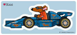 Grote Sticker   Race auto Teckel