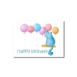 Ansichtkaart   Happy Birthday Cat