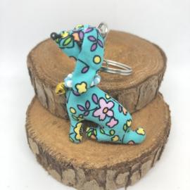 Teckelsleutelhanger | Zittende Teckel Turquoise