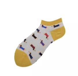 Teckel Sneakersokjes maat 35-39 | Geel