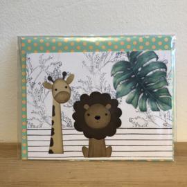 Handgemaakt | Giraffe en Leeuw