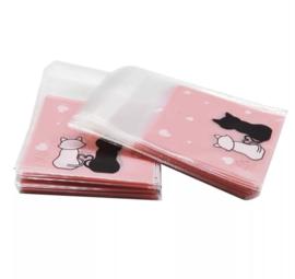 Cadeauzakjes | Transparant Poesjes Roze 7x7 cm