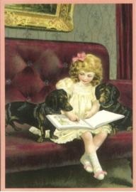 Teckelkaart | Meisje met Teckels