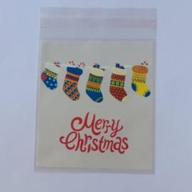 Cadeauzakjes | Transparant Merry Christmas 10x10 cm