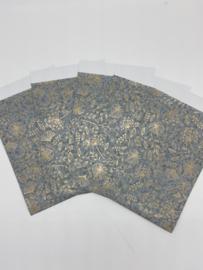 5 kadozakjes   Grijs met Gouden Bladeren   12x19 cm