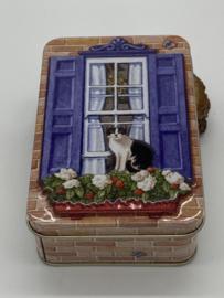 Blikje | Zwart witte kat voor het raam