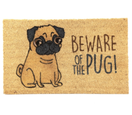 "Deurmat ""Beware of the Pug"""
