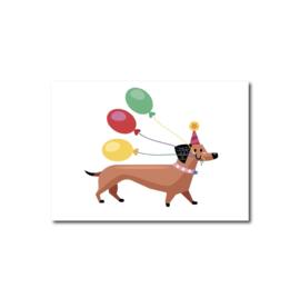 Ansichtkaart | Teckel met Ballonnen