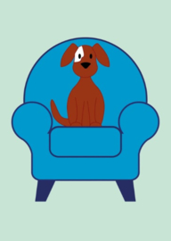 Kaart | Hondje op stoel