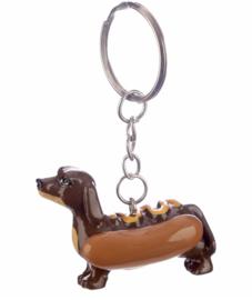 Sleutelhanger | Hot Dog Teckel Mosterd