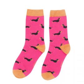 Teckelsokken | Maat 37-41 | Hot Pink