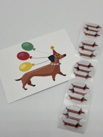Ansichtkaart en Stickers | Teckel