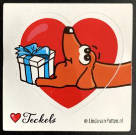 Sticker   Teckel en Cadeautje