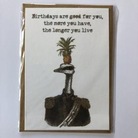 Verjaardagskaart | Struisvogel