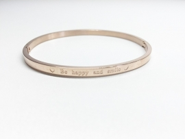 "Stainless Steel armband rose dun ""Be happy and smile"""