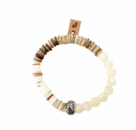 Gele Jade, schelp en kokos armband