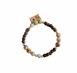 Agaat en Kokos armband