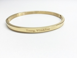 "Stainless Steel armband goud dun ""young wild & free"""