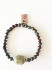 Armband Bloedsteen en groene Jade
