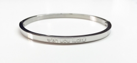 "Stainless Steel armband zilver dun ""wish you luck"""
