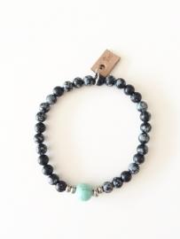 Armband sneeuwvlok Obsidiaan met Howliet