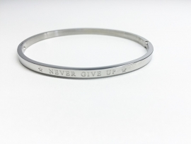 "Stainless Steel armband zilver dun ""Never give up"""