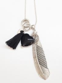 Onyx ketting zilver