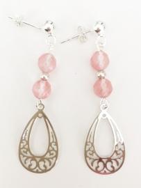 Cherrykwarts zilveren oorbellen