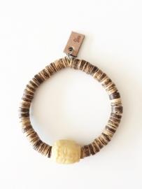Armband kokosdisc met gele Jade