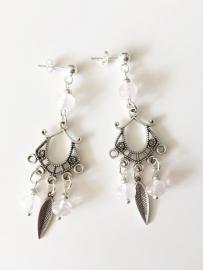 Rozenkwarts zilveren oorbellen