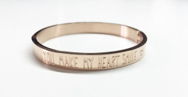 "Stainless Steel armband rose dik ""You make my heart smile"""