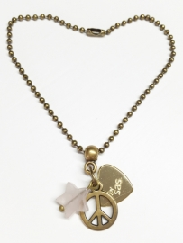 Rozenkwarts armband ball chain brons