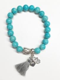 Jade aqua blue armband zilver