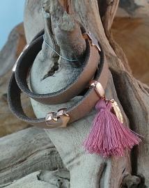 Leren wikkelarmband camel bruin