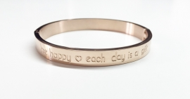 "Stainless steel armband rose dik ""Be happy each day....."