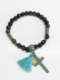 Boho Obsidiaan armband