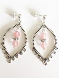 Cherrykwarts oorbellen zilver